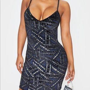 New PrettyLittleThing PLT Glitter Velvet Dress M